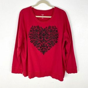 Style & Co red Heard pullover french terry top